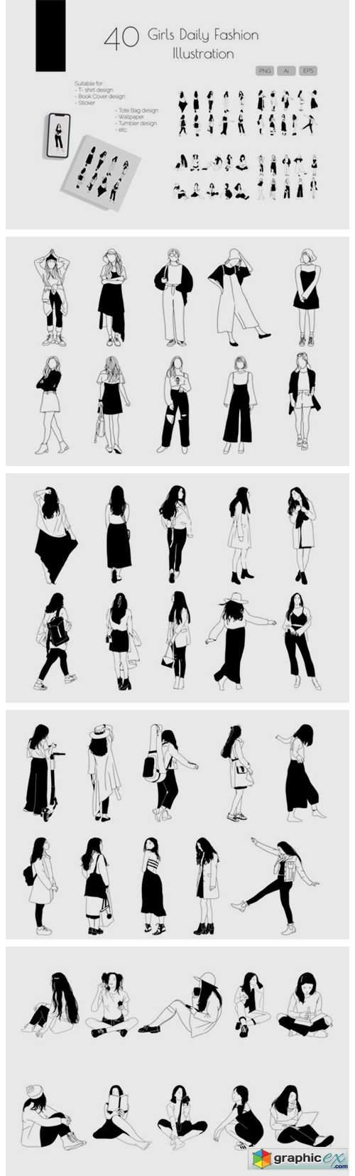 Girls Daily Fashion Illustration