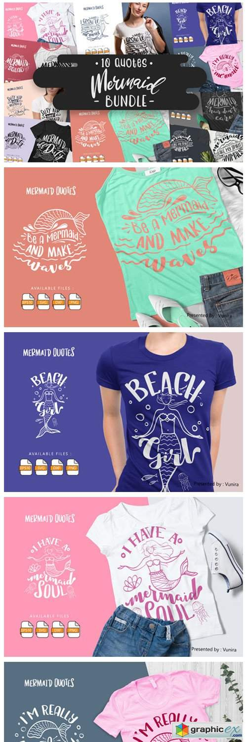 10 Mermaid Bundle | Lettering Quotes