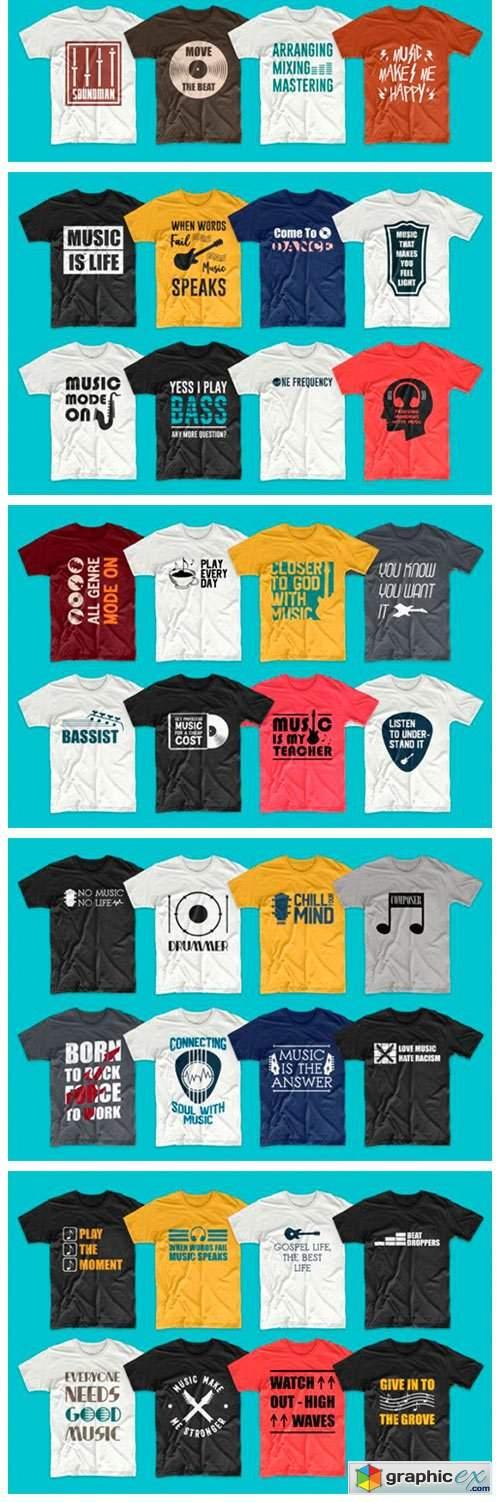 T-shirt Designs Bundle Music Slogans
