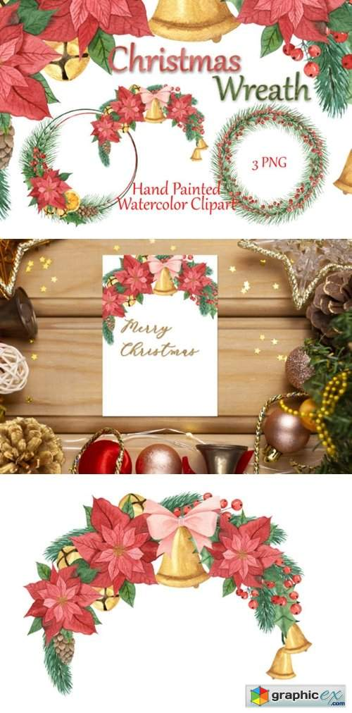 Christmas Frames. Watercolor Clipart.