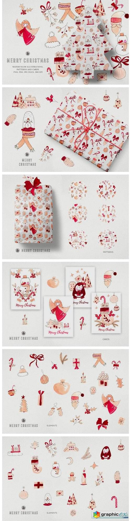 Watercolor Clipart - Merry Christmas