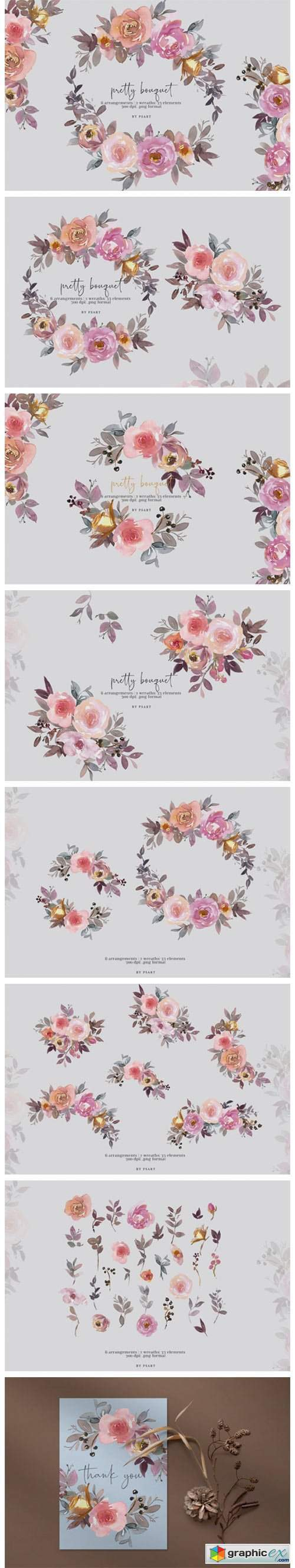 Pretty Bouquet Watercolor Clipart Set