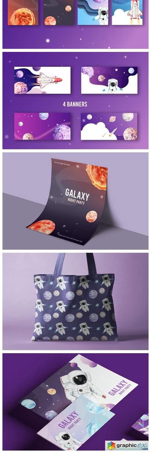 Space Galaxy Astronaut Watercolor Set