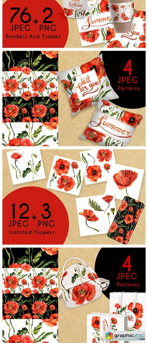 Stunning Poppies PNG Watercolor Set