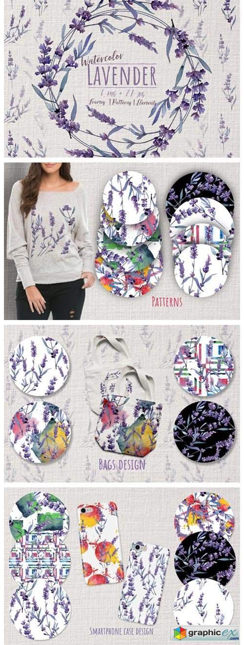 Wonderful Violet Lavender PNG Watercolor Set
