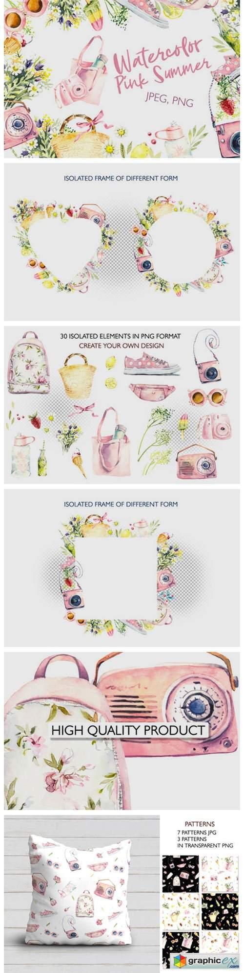 Watercolor Pink Summer