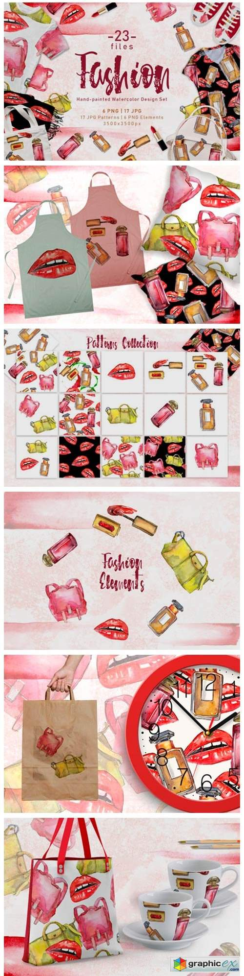 Fashion Accessories PNG Watercolor Set