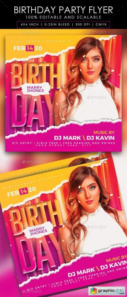 Birthday Party Flyer 28430601