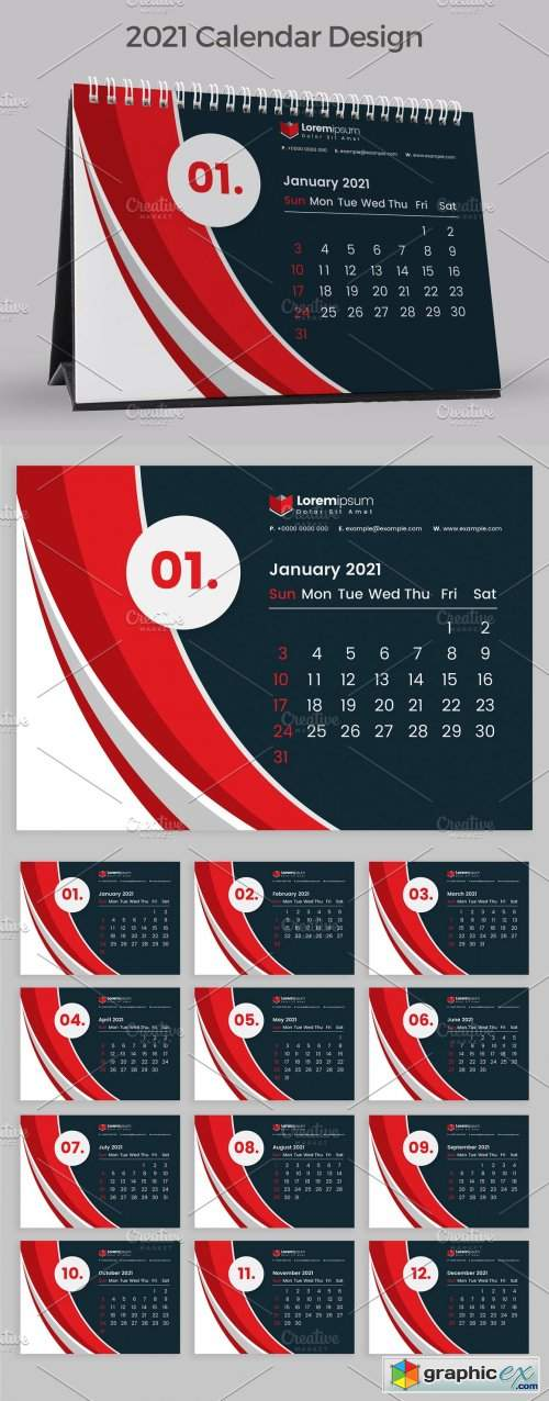 Download Red Calendar 2021 » Free Download Vector Stock Image ...