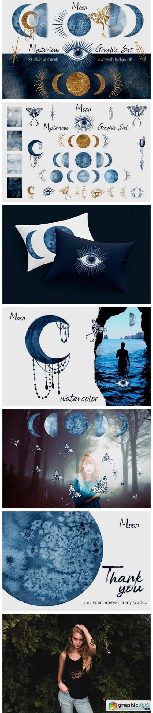 Watercolor Moon Clipart Magic Mysterious