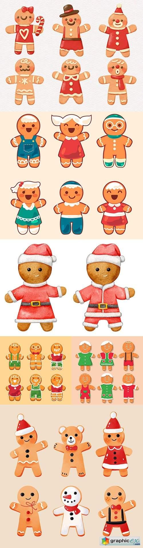 Christmas baking decorative gingerbread man flat design