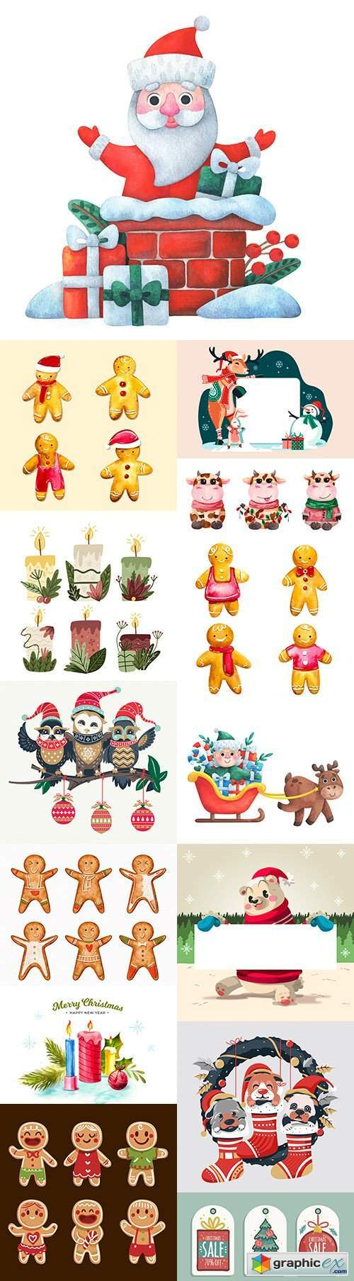 Fun Santa and Christmas characters cartoon illustration