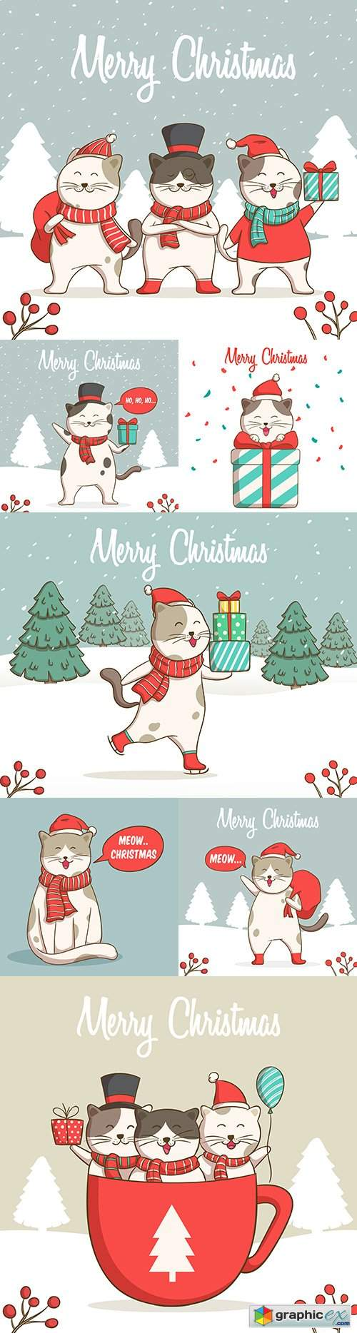 Fun Christmas illustrations of cute cats hand drawing
