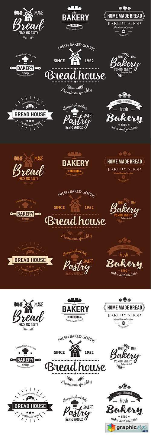 Template of bakery logo fresh baked goods