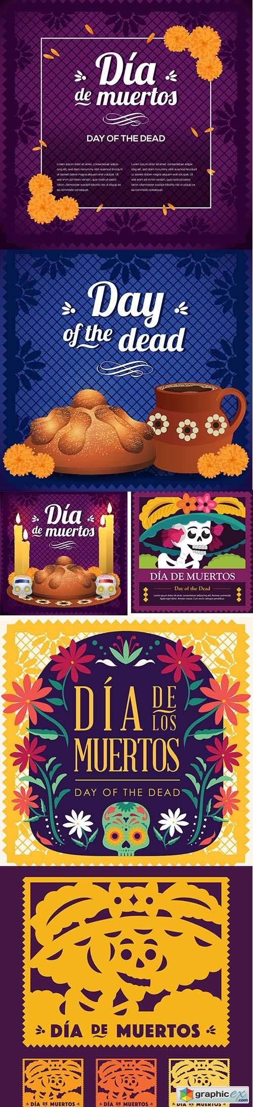 Mexican day of the dead catrina cut out paper set