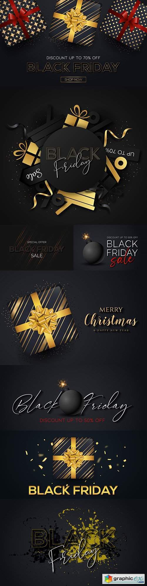 Merry Christmas Black Friday promotion sale special banner