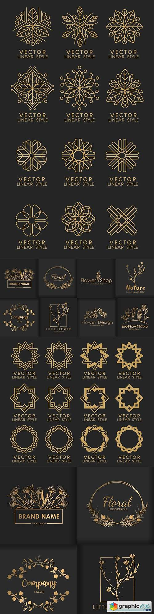 Gold set of linear and floral decorative logos design