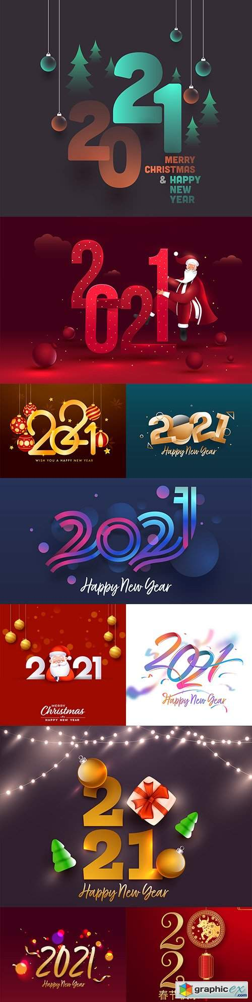 Download Decorative text with New Year 2021 colorful design » Free ...