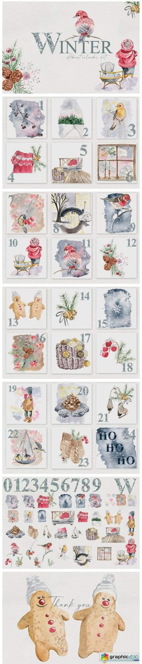 Winter. Advent Calendar Set