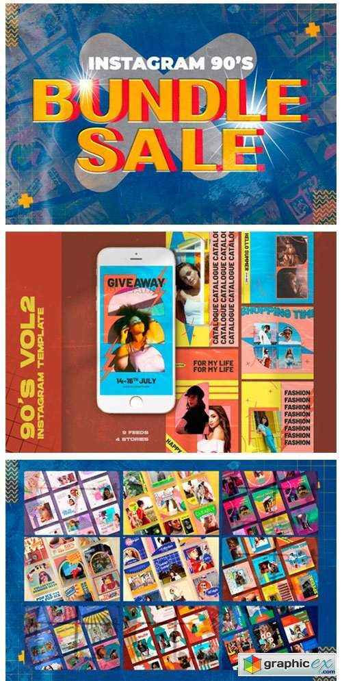 Bundle 90's Instagram Templates