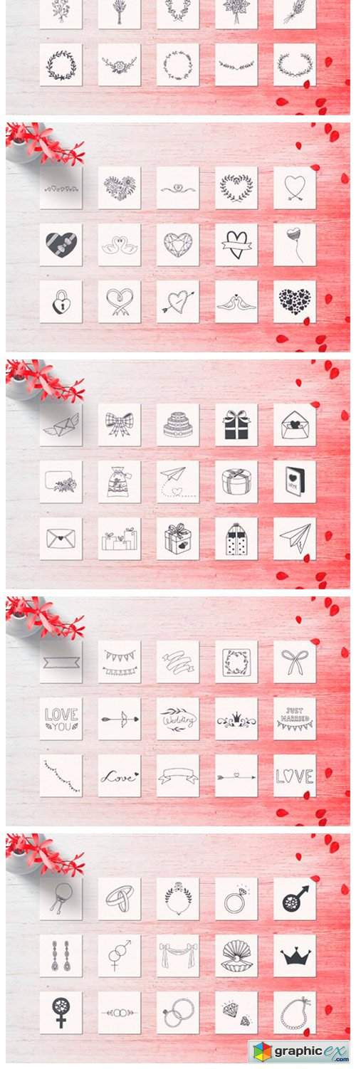 150 Hand Drawn Elements Wedding