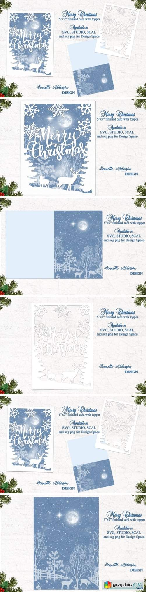 Merry Christmas Reindeer Snowflake Card