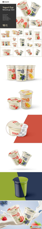 Yogurt Cup Mockup Set   Packaging