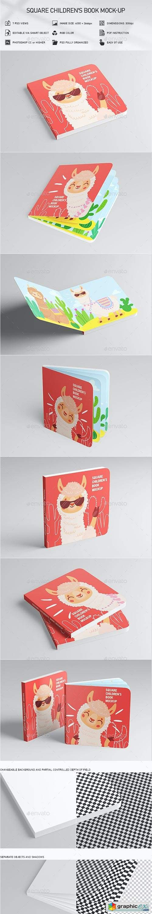 Square Children's Book Mock-Up