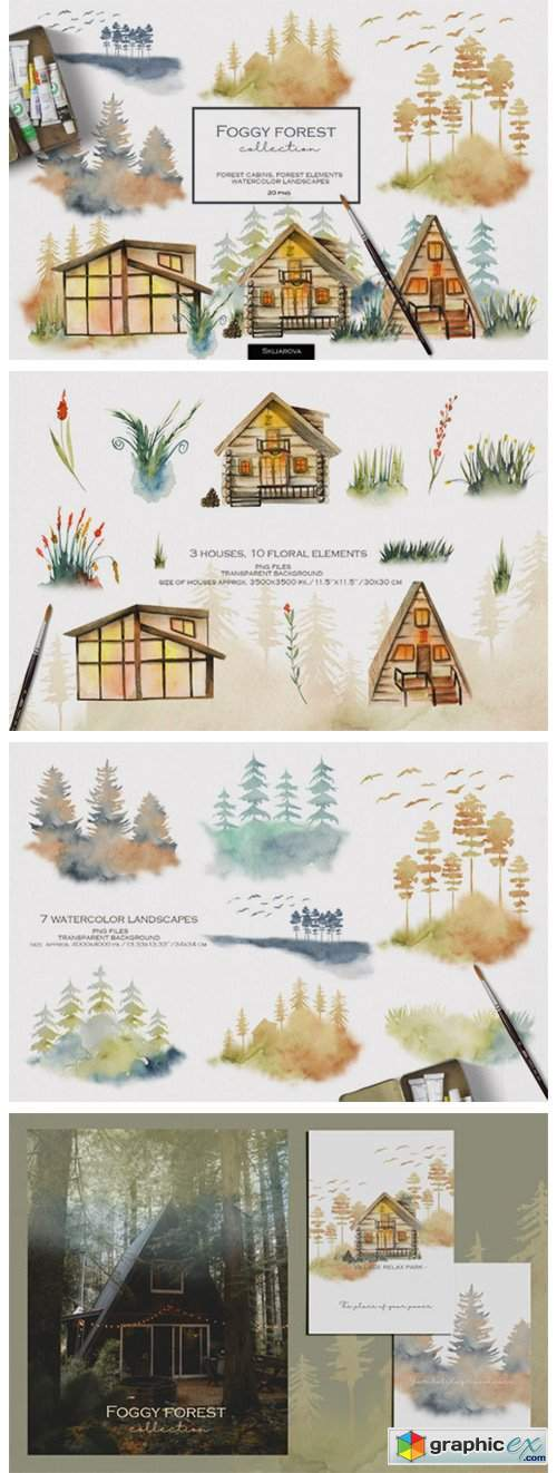 Foggy Forest. Cottages & Landscapes