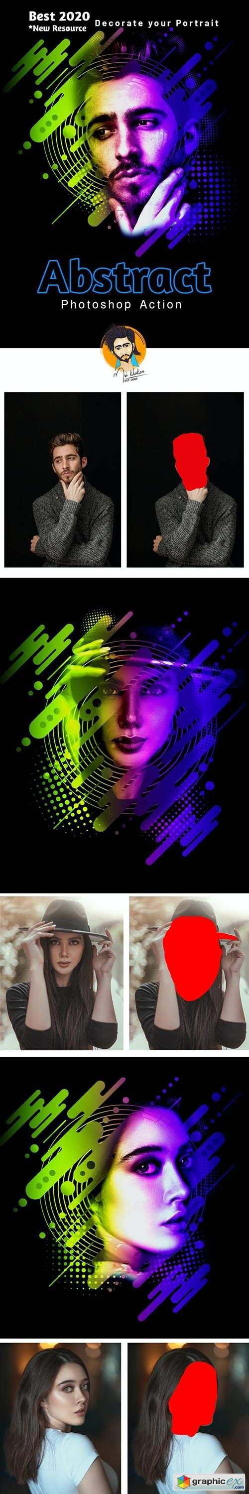 Abstract Portrait Photoshop Action 28890122