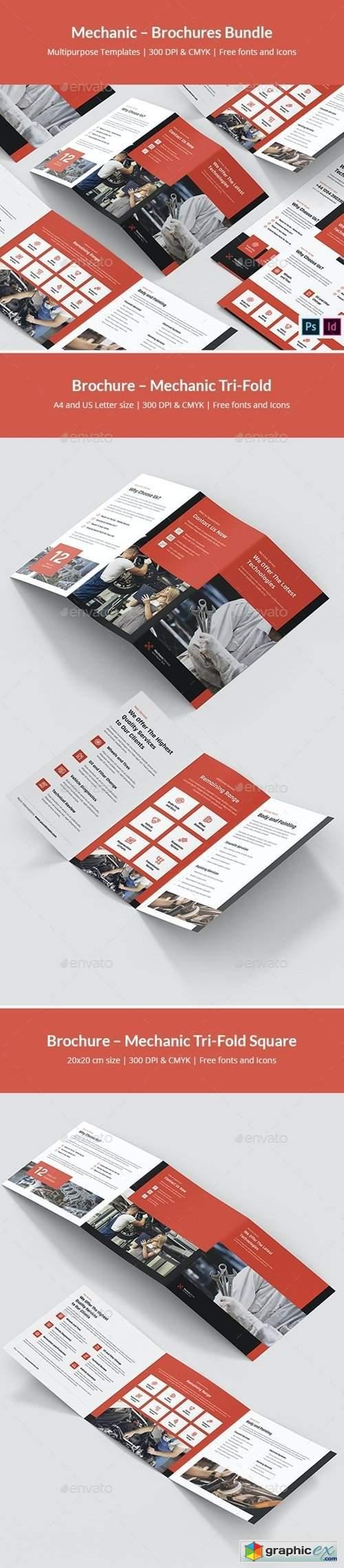 Mechanic – Brochures Bundle Print Templates 5 in 1