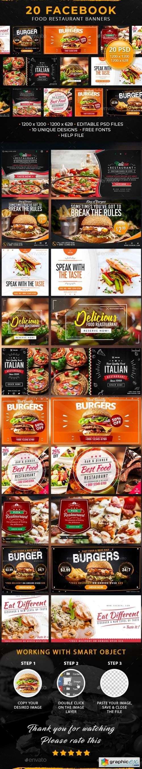 20 Facebook Food Restaurant Banners