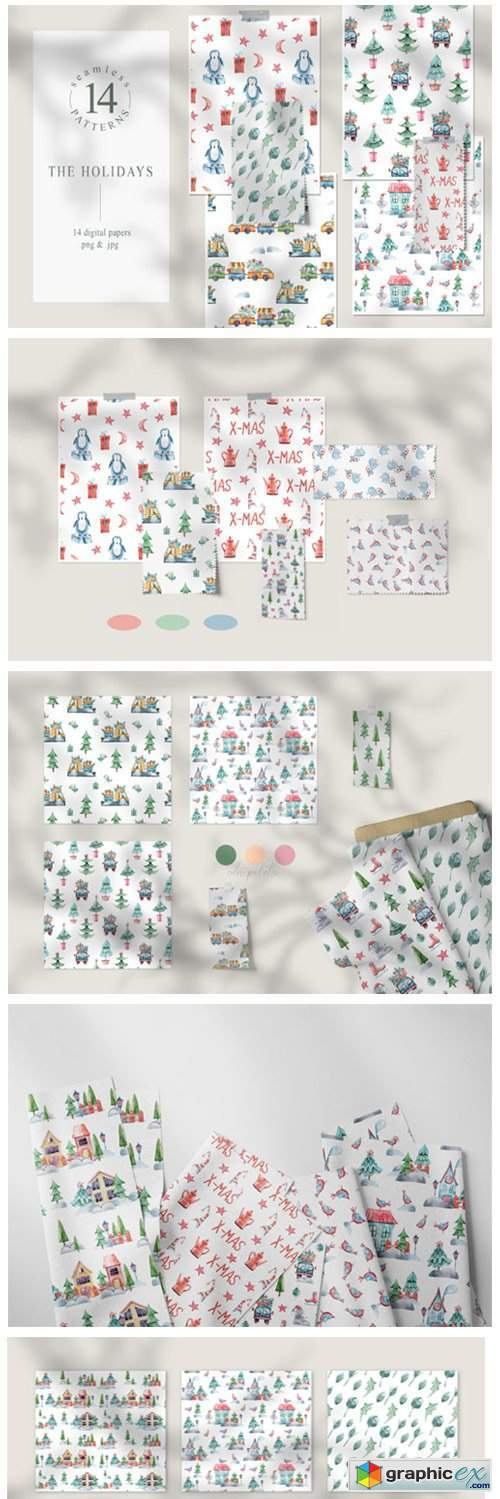 Watercolor Christmas Seamless Patterns