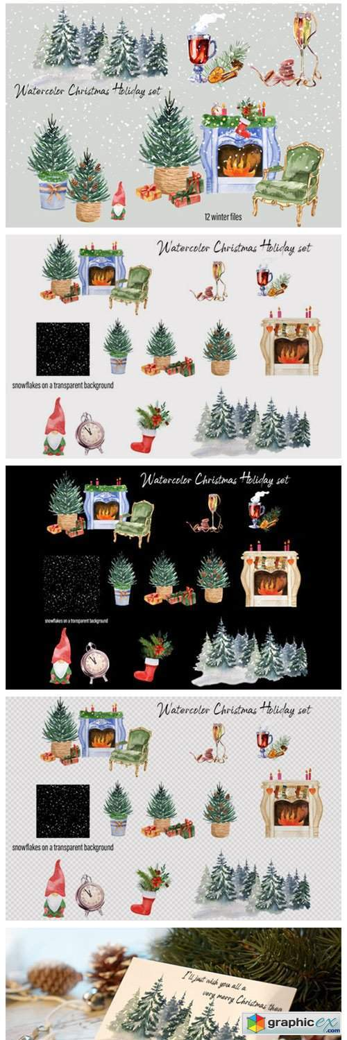 Watercolor Christmas Clipart Scene Creat
