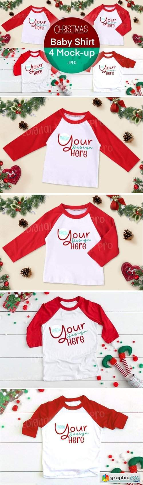 4 Christmas Red Baby Shirt Mock Up