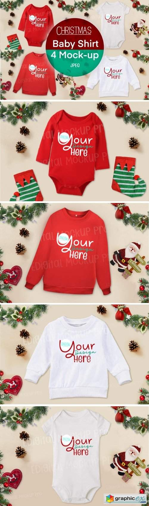 4 Christmas RED WHITE Baby Shirt Mock Up
