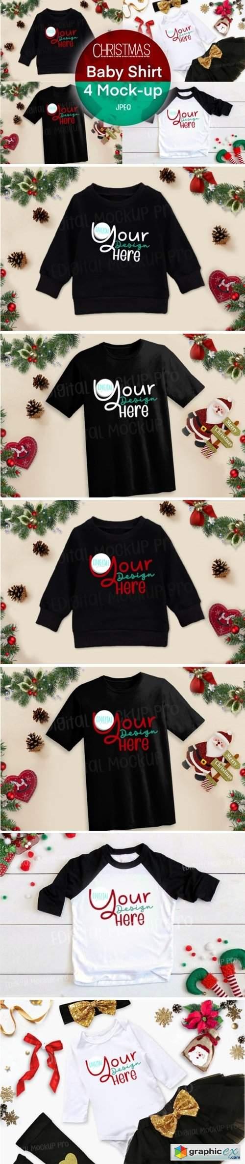 4 Christmas Black Baby Shirt Mock Up