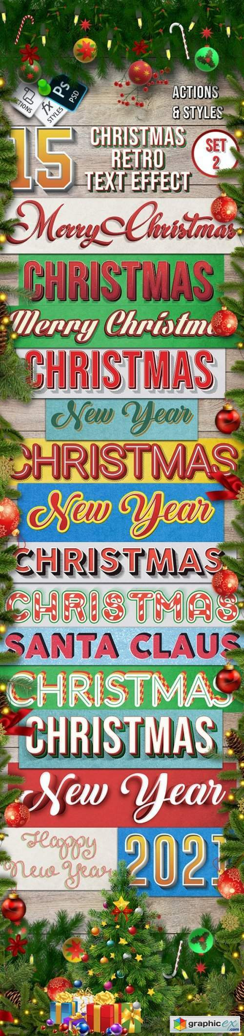 Christmas Retro Text Effect Set 2 - 15 Different Styles