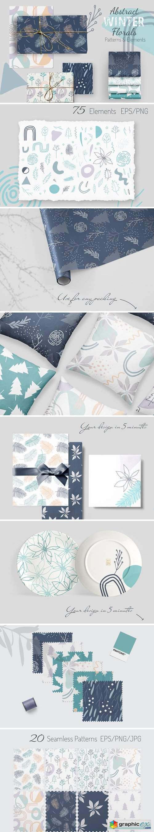 Abstract winter florals