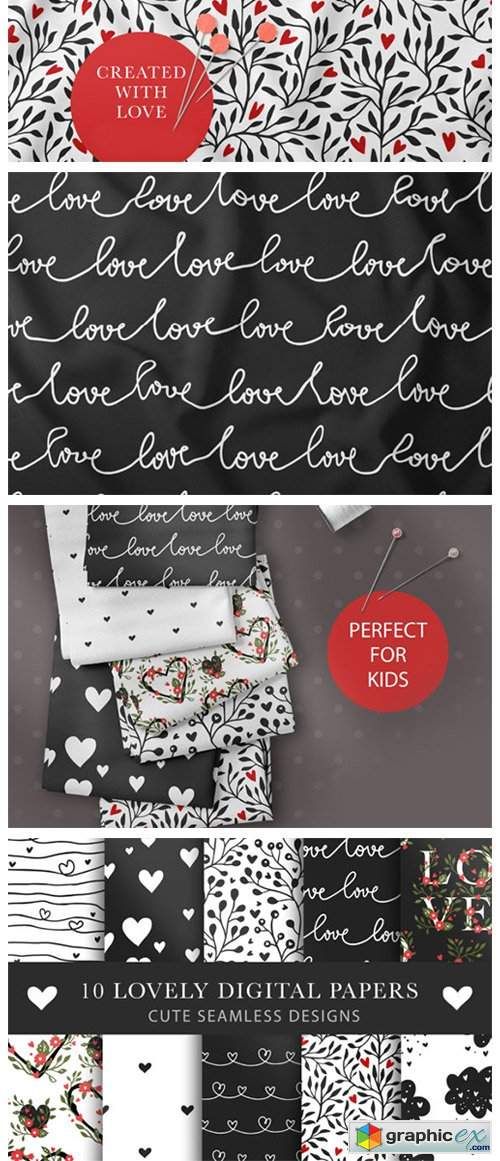 Valentines Day Seamless Pattern Set