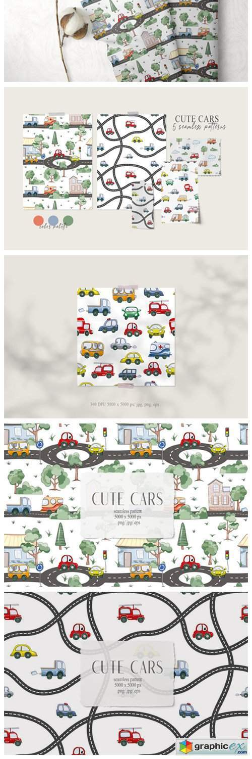 Watercolor Funny Cars Seamless Patterns