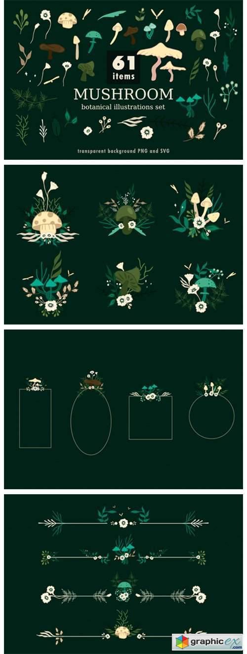 Mushroom Botanical Illustrations Set