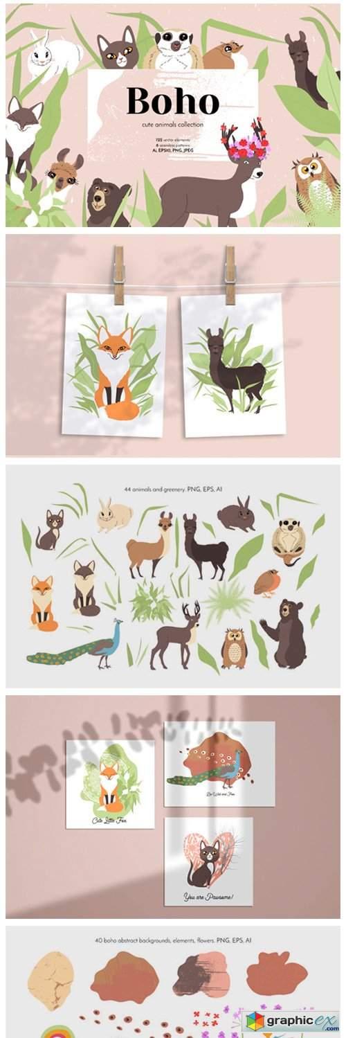 Boho Cute Animals - Line Art