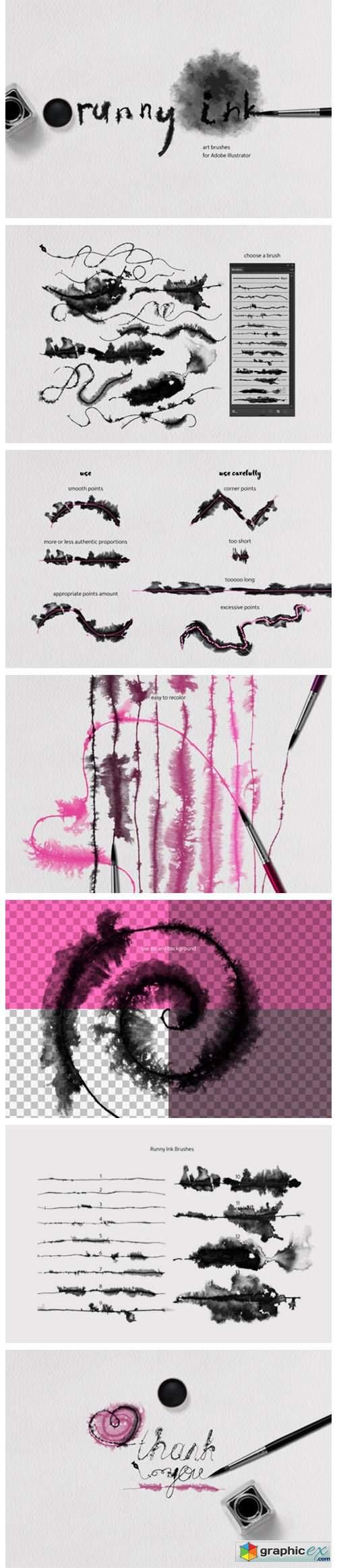 Runny Ink Brushes for Illustrator