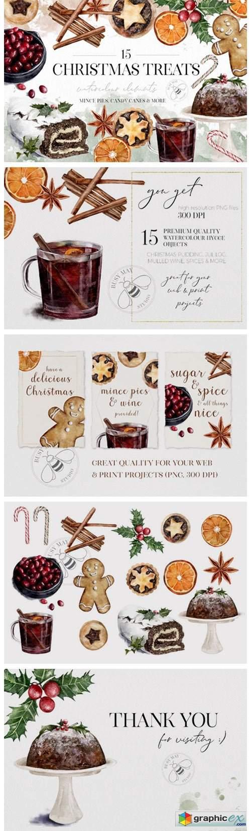 Watercolor Christmas Treats Festive Food