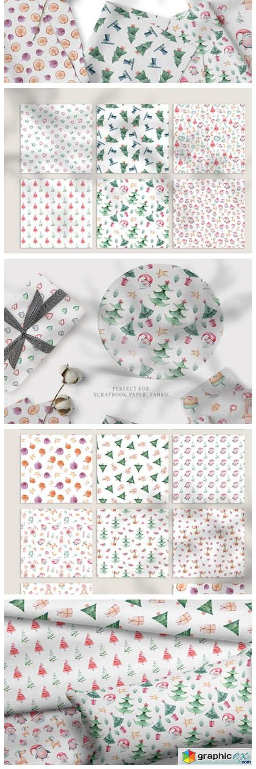 Watercolor Christmas Seamless Patterns 6793635
