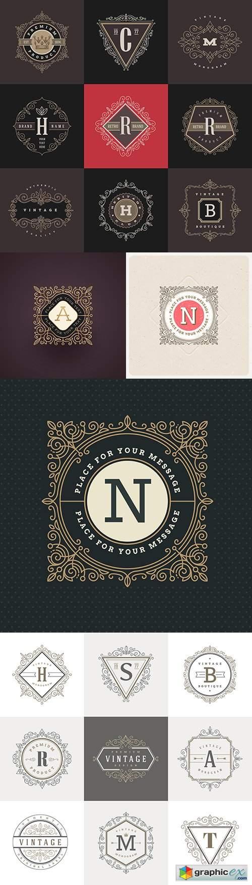 Monogram vintage calligraphic decoration emblem design