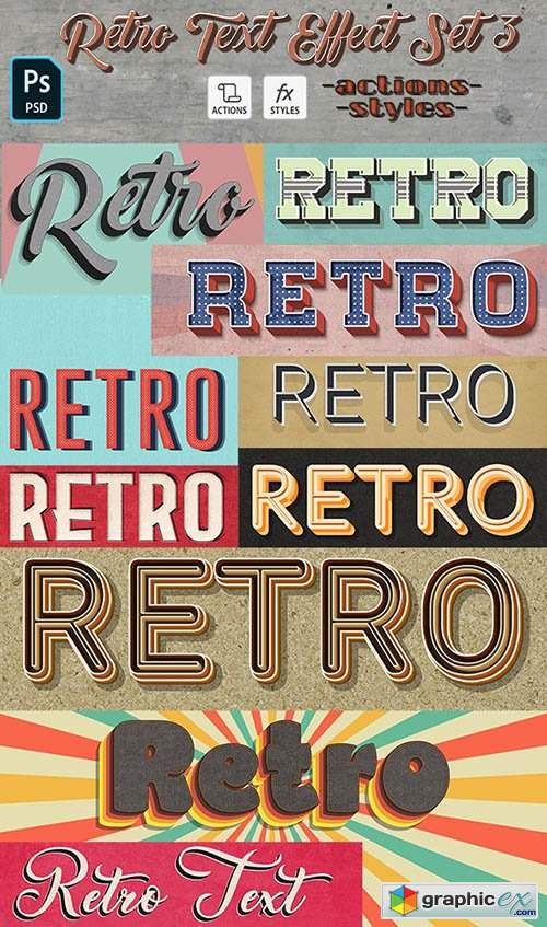 Retro Text Effect Set 3- 10 Photoshop Different Styles