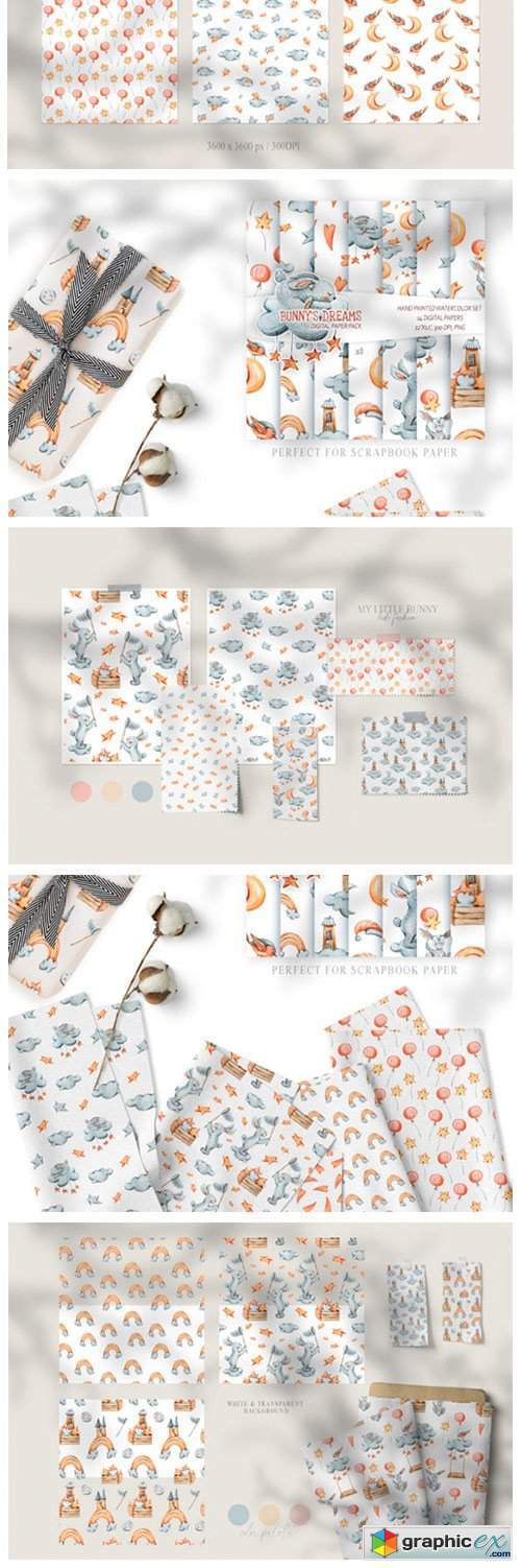 12 Watercolor Bunny Seamless Patterns