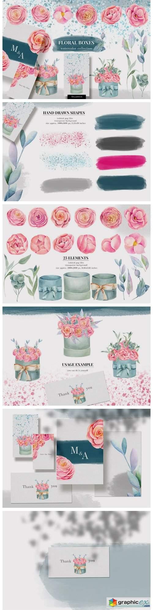 Floral Boxes. Watercolor Floral Elements